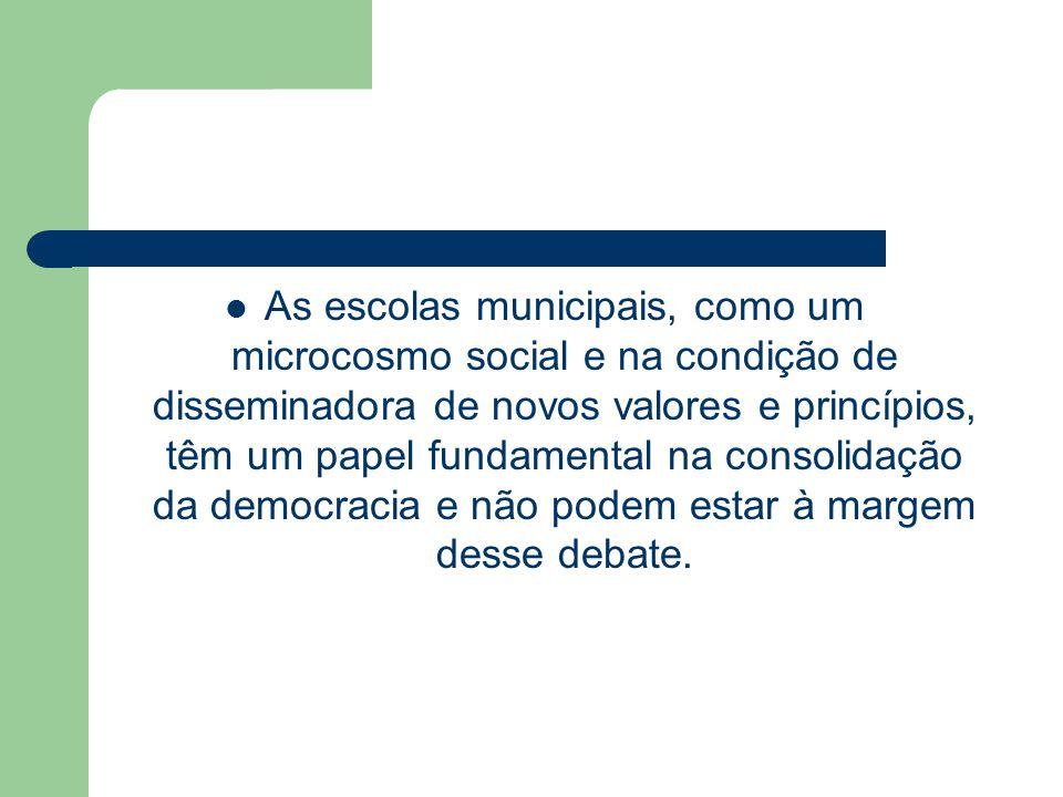 As escolas municipais, como um microcosmo social e na condição de disseminadora de novos valores e princípios, têm um papel fundamental na consolidação da democracia e não podem estar à margem desse debate.