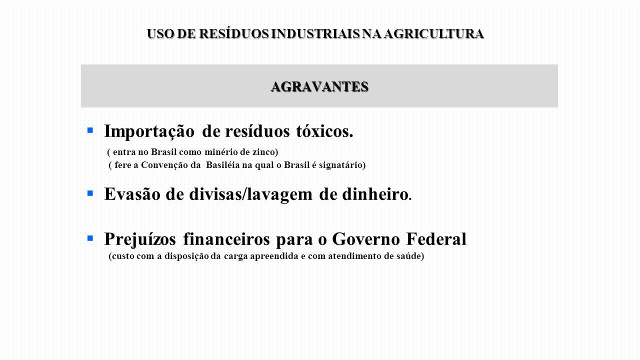 AGRAVANTES  Importação de resíduos tóxicos. ( entra no Brasil como minério de zinco) ( fere a Convenção da Basiléia na qual o Brasil é signatário) 