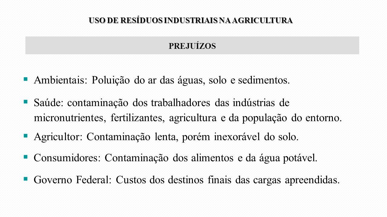 PREJUÍZOS  Ambientais: Poluição do ar das águas, solo e sedimentos.  Saúde: contaminação dos trabalhadores das indústrias de micronutrientes, fertil