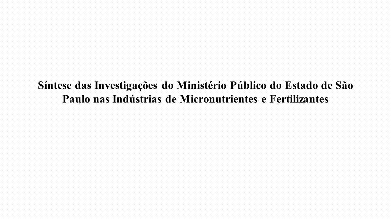 Síntese das Investigações do Ministério Público do Estado de São Paulo nas Indústrias de Micronutrientes e Fertilizantes
