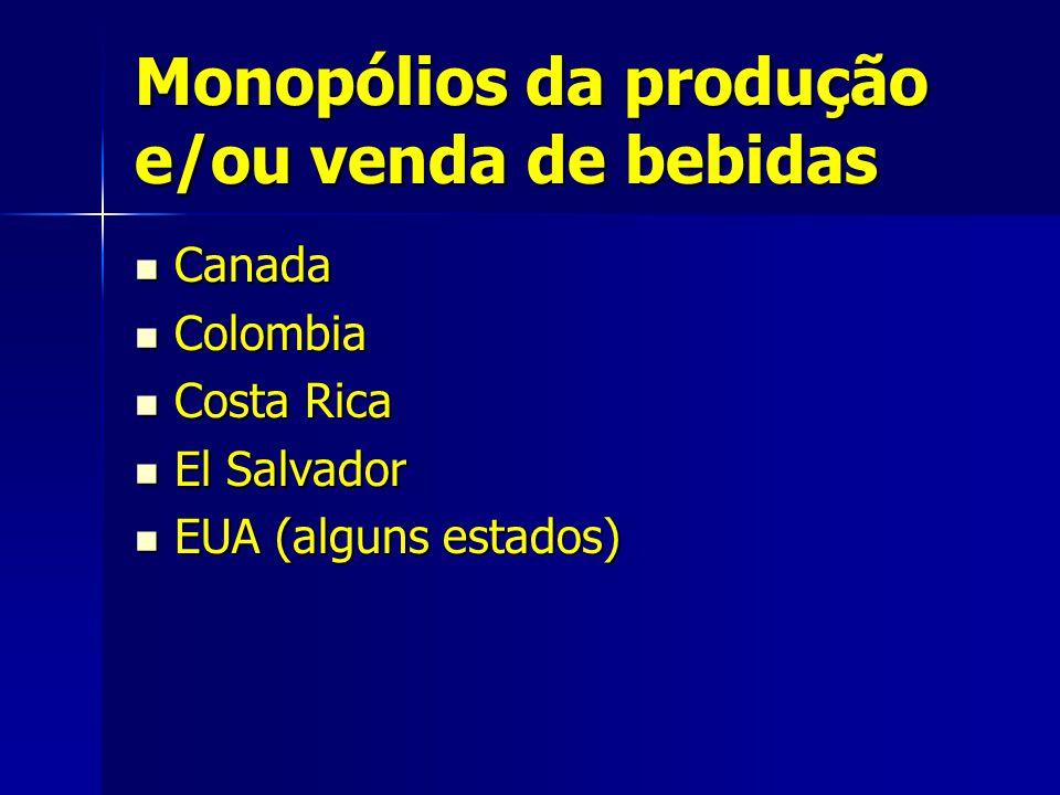 Monopólios da produção e/ou venda de bebidas Canada Canada Colombia Colombia Costa Rica Costa Rica El Salvador El Salvador EUA (alguns estados) EUA (alguns estados)