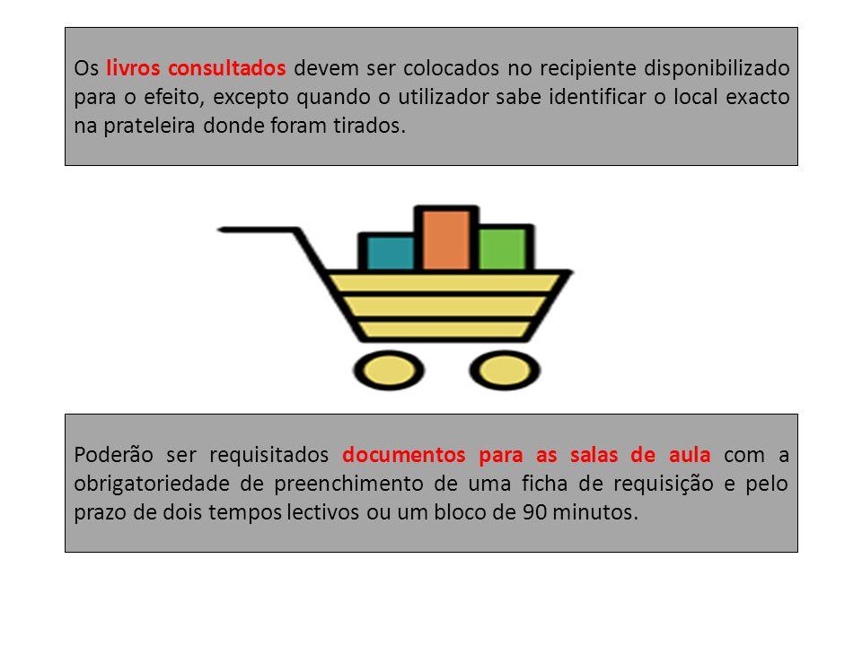 Os livros consultados devem ser colocados no recipiente disponibilizado para o efeito, excepto quando o utilizador sabe identificar o local exacto na