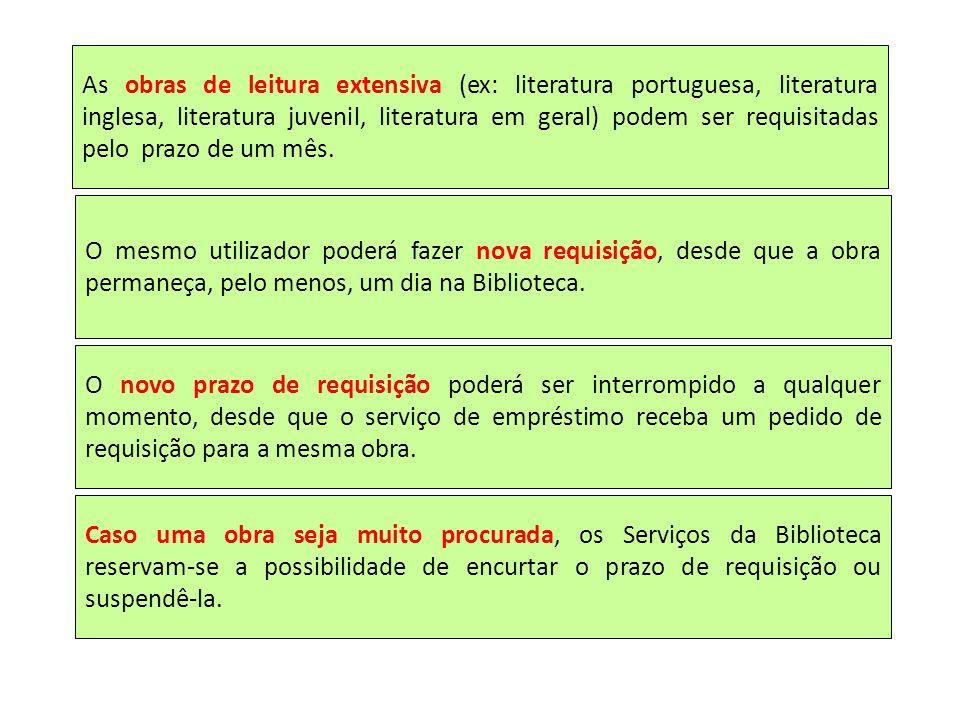 As obras de leitura extensiva (ex: literatura portuguesa, literatura inglesa, literatura juvenil, literatura em geral) podem ser requisitadas pelo pra