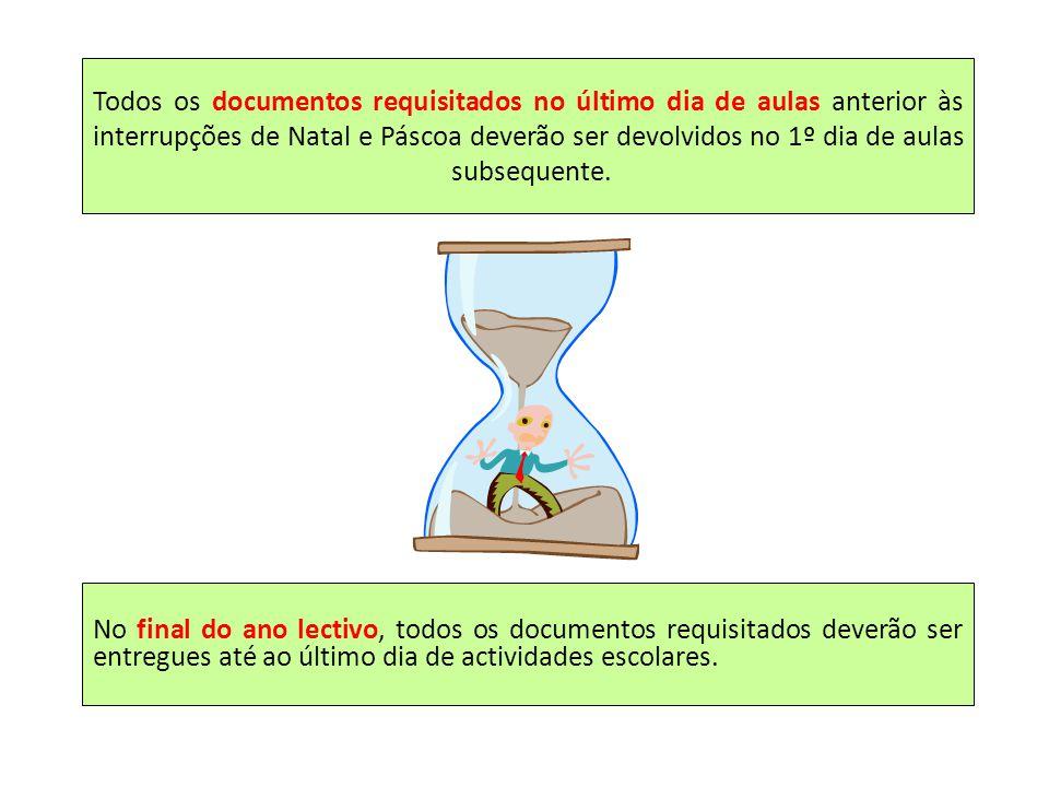 Todos os documentos requisitados no último dia de aulas anterior às interrupções de Natal e Páscoa deverão ser devolvidos no 1º dia de aulas subsequen
