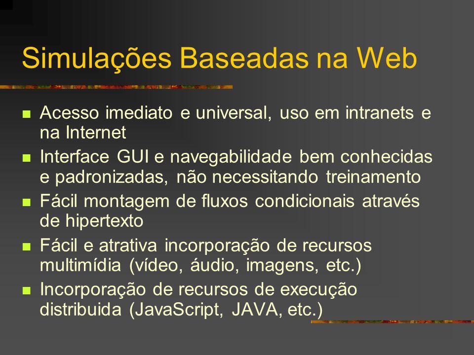Simulações Baseadas na Web Acesso imediato e universal, uso em intranets e na Internet Interface GUI e navegabilidade bem conhecidas e padronizadas, não necessitando treinamento Fácil montagem de fluxos condicionais através de hipertexto Fácil e atrativa incorporação de recursos multimídia (vídeo, áudio, imagens, etc.) Incorporação de recursos de execução distribuida (JavaScript, JAVA, etc.)