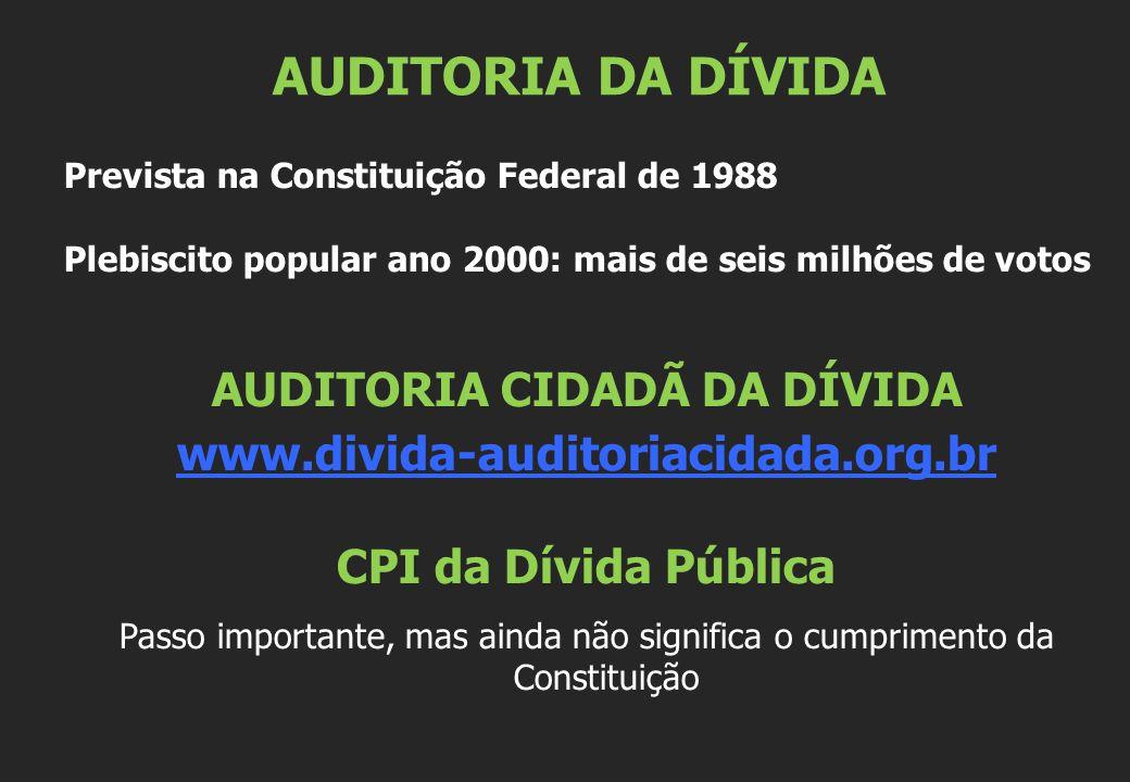 Prevista na Constituição Federal de 1988 Plebiscito popular ano 2000: mais de seis milhões de votos AUDITORIA CIDADÃ DA DÍVIDA www.divida-auditoriacid