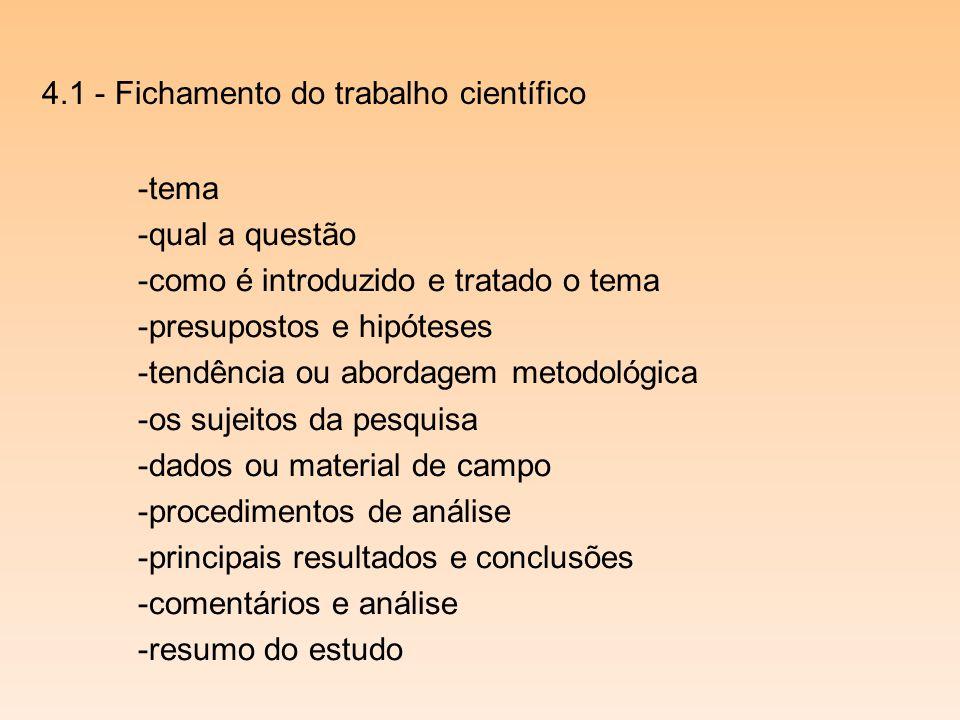 4.1 - Fichamento do trabalho científico -tema -qual a questão -como é introduzido e tratado o tema -presupostos e hipóteses -tendência ou abordagem me