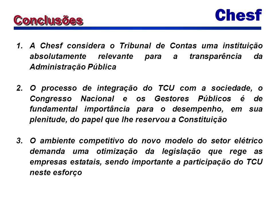 1.A Chesf considera o Tribunal de Contas uma instituição absolutamente relevante para a transparência da Administração Pública 2.O processo de integra