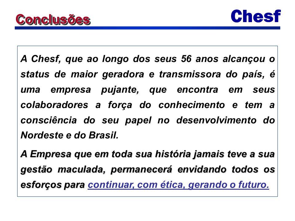 ConclusõesConclusões A Chesf, que ao longo dos seus 56 anos alcançou o status de maior geradora e transmissora do país, é uma empresa pujante, que enc