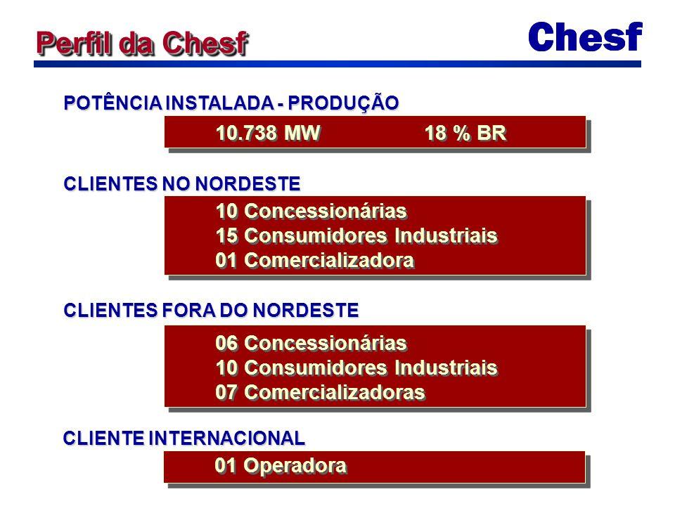 10.738 MW 18 % BR POTÊNCIA INSTALADA - PRODUÇÃO 10 Concessionárias 15 Consumidores Industriais 01 Comercializadora 10 Concessionárias 15 Consumidores