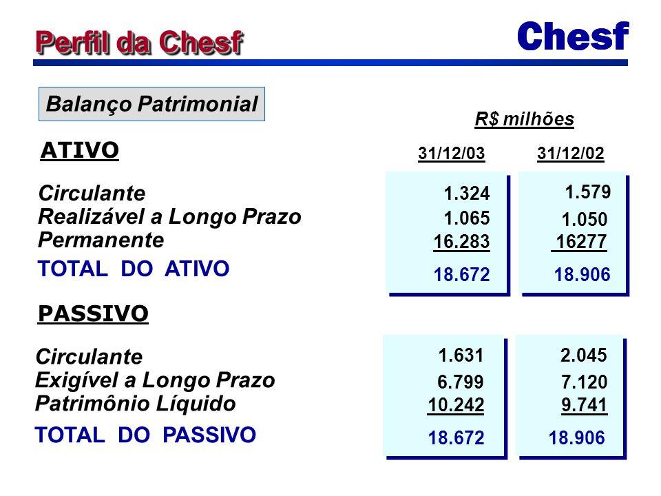 Balanço Patrimonial Circulante Realizável a Longo Prazo Permanente TOTAL DO ATIVO 1.324 1.579 31/12/0331/12/02 R$ milhões ATIVO 16277 18.672 18.906 Ci