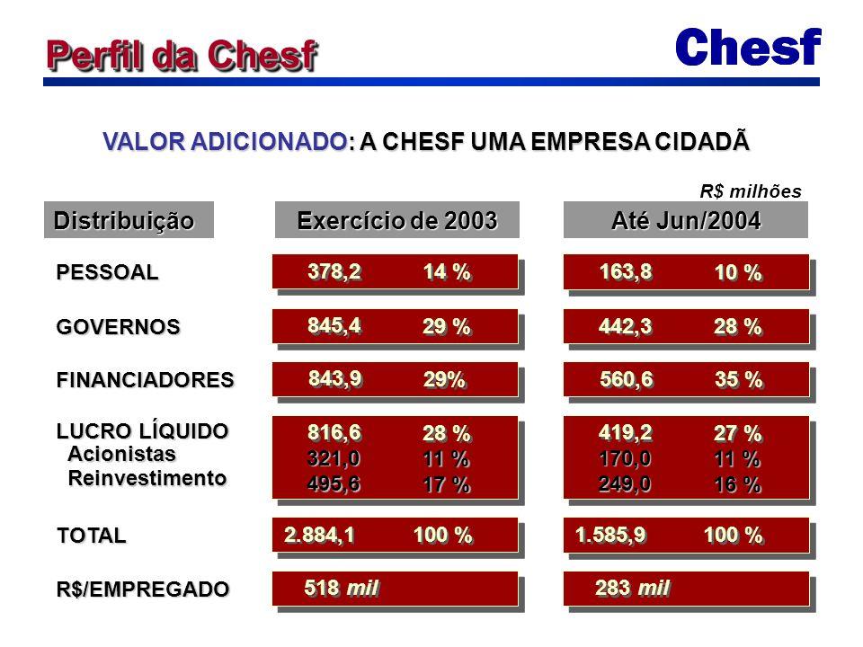 PESSOAL 378,2 14 % Distribuição Perfil da Chesf VALOR ADICIONADO: A CHESF UMA EMPRESA CIDADÃ Exercício de 2003 Até Jun/2004 GOVERNOS 845,4 29 % FINANC