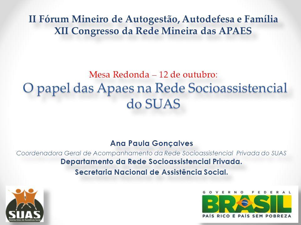 O papel das Apaes na Rede Socioassistencial do SUAS II Fórum Mineiro de Autogestão, Autodefesa e Família XII Congresso da Rede Mineira das APAES Mesa