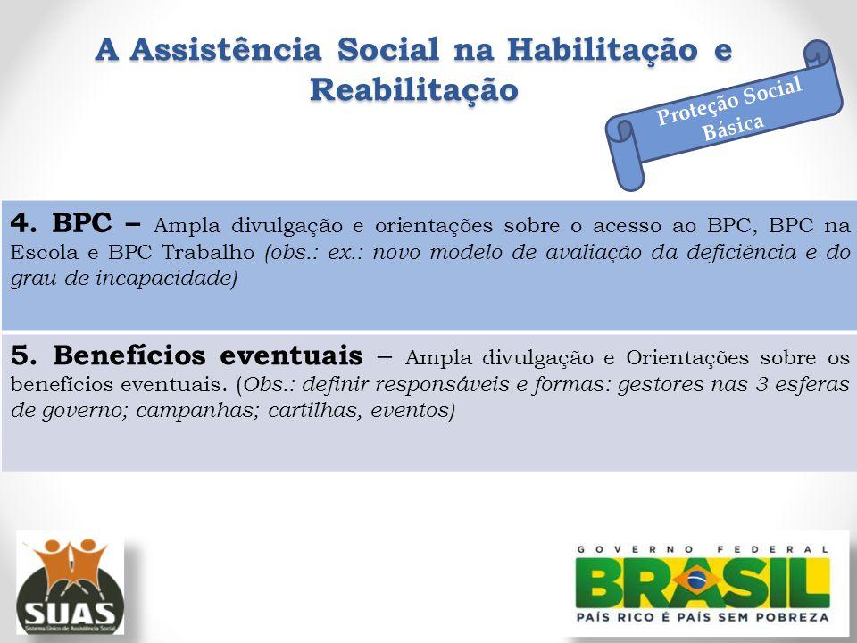 A Assistência Social na Habilitação e Reabilitação Proteção Social Básica 4. BPC – Ampla divulgação e orientações sobre o acesso ao BPC, BPC na Escola