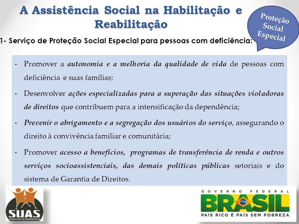A Assistência Social na Habilitação e Reabilitação 1- Serviço de Proteção Social Especial para pessoas com deficiência: -Promover a autonomia e a melh