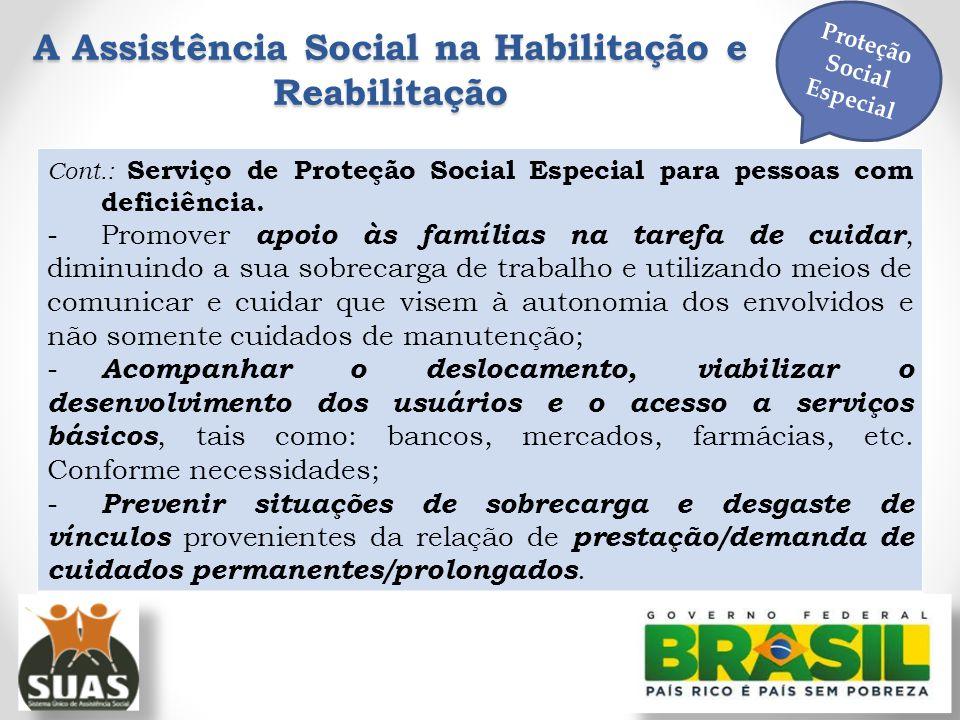 A Assistência Social na Habilitação e Reabilitação Proteção Social Especial Cont.: Serviço de Proteção Social Especial para pessoas com deficiência. -