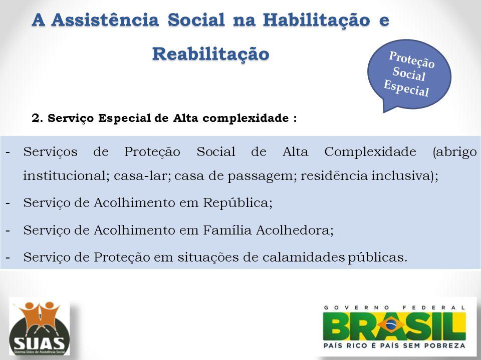 A Assistência Social na Habilitação e Reabilitação 2. Serviço Especial de Alta complexidade : -Serviços de Proteção Social de Alta Complexidade (abrig