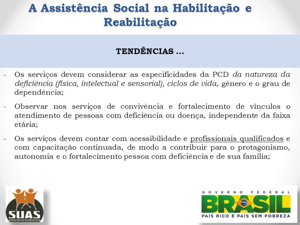 -Os serviços devem considerar as especificidades da PCD da natureza da deficiência (física, intelectual e sensorial), ciclos de vida, gênero e o grau