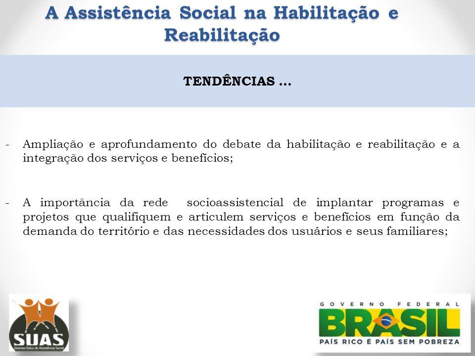 -Ampliação e aprofundamento do debate da habilitação e reabilitação e a integração dos serviços e benefícios; -A importância da rede socioassistencial