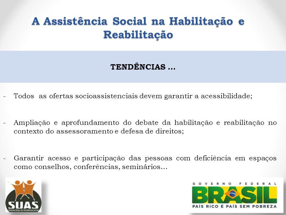-Todos as ofertas socioassistenciais devem garantir a acessibilidade; -Ampliação e aprofundamento do debate da habilitação e reabilitação no contexto