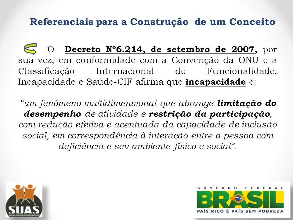Referenciais para a Construção de um Conceito O Decreto Nº6.214, de setembro de 2007, por sua vez, em conformidade com a Convenção da ONU e a Classifi