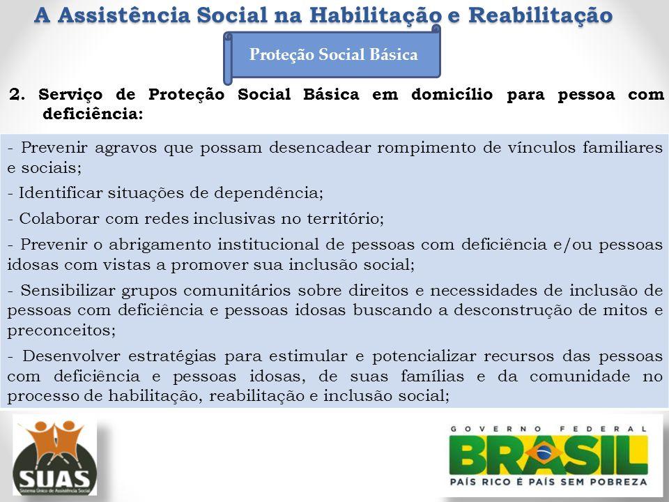 A Assistência Social na Habilitação e Reabilitação 2. Serviço de Proteção Social Básica em domicílio para pessoa com deficiência: - Prevenir agravos q