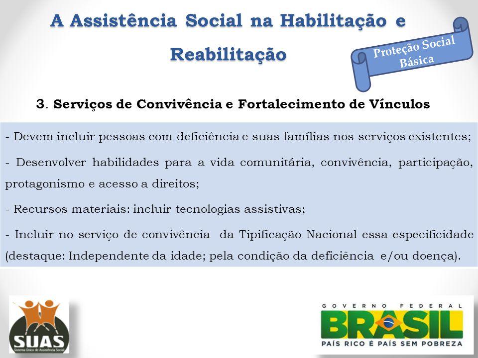 A Assistência Social na Habilitação e Reabilitação 3. Serviços de Convivência e Fortalecimento de Vínculos Proteção Social Básica - Devem incluir pess