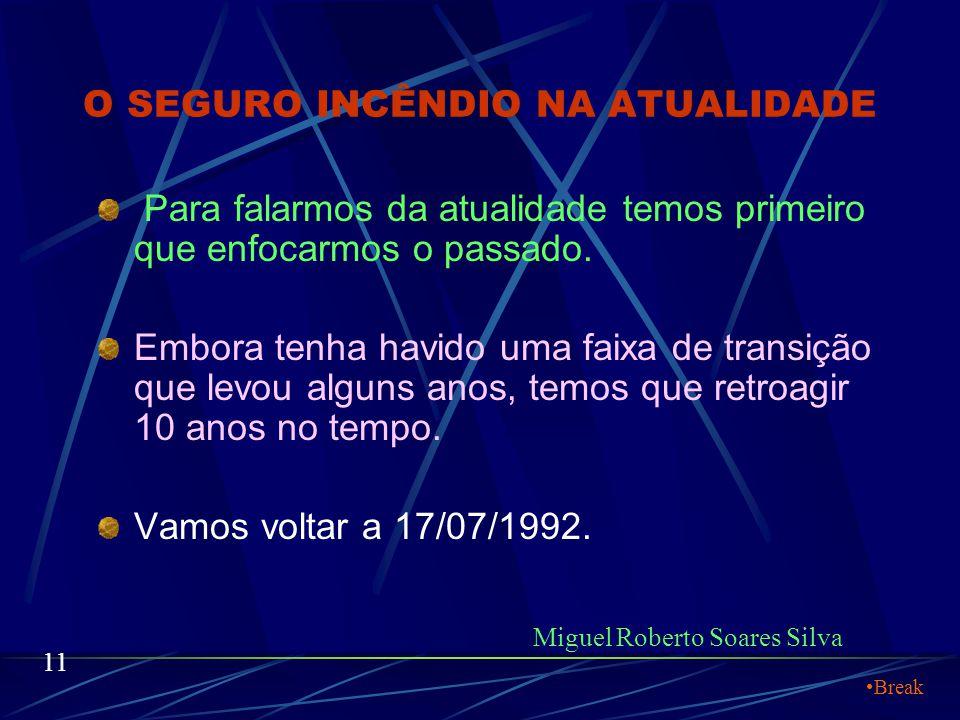 O SEGURO INCÊNDIO NA ATUALIDADE Portanto eu tenho que lhes destacar: Miguel Roberto Soares Silva 10 Os benefícios dos Equipamentos de Detecção e Comba