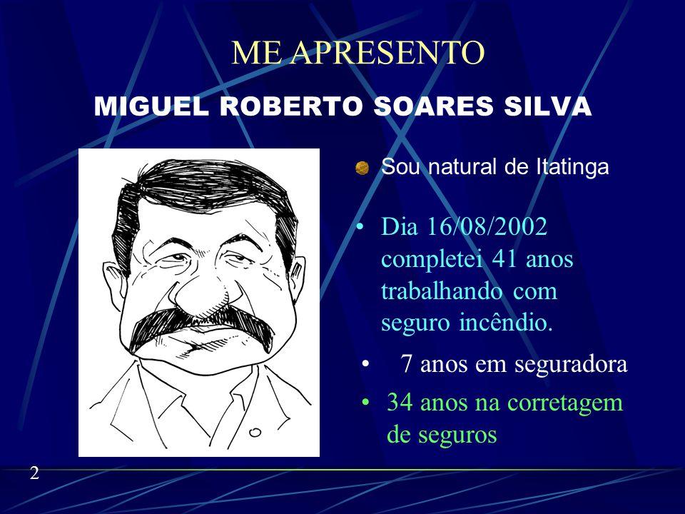 MIGUEL ROBERTO SOARES SILVA Sou natural de Itatinga Dia 16/08/2002 completei 41 anos trabalhando com seguro incêndio.