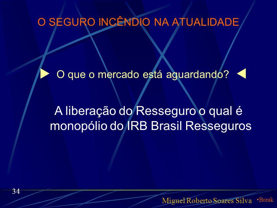 O SEGURO INCÊNDIO NA ATUALIDADE  O que está ocorrendo no mercado  Miguel Roberto Soares Silva 33 Com a liberação do mercado segurador brasileiro e t