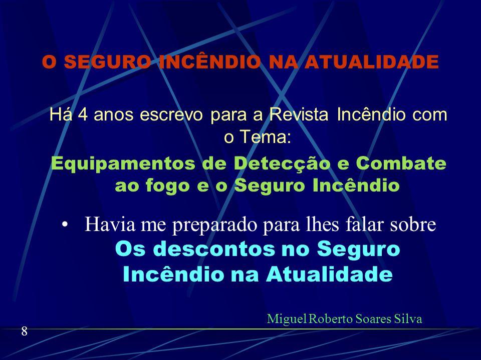NOSSO TEMA É: O SEGURO INCÊNDIO NA ATUALIDADE VAMOS A ELE: Miguel Roberto Soares Silva 7