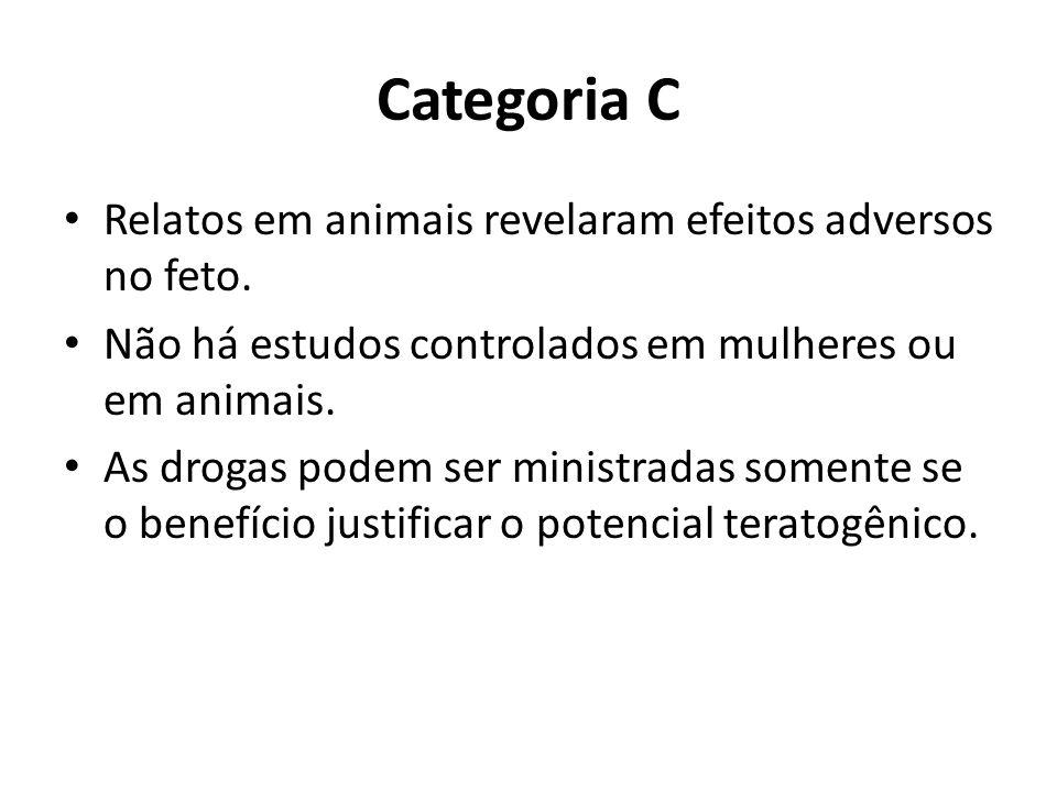 Categoria C Relatos em animais revelaram efeitos adversos no feto. Não há estudos controlados em mulheres ou em animais. As drogas podem ser ministrad