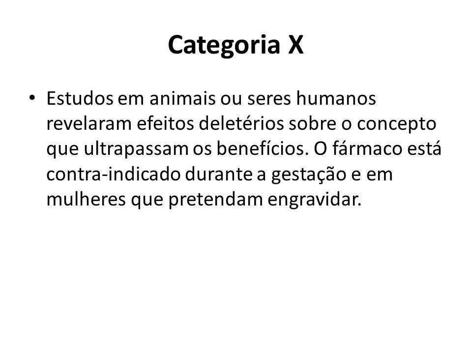 Categoria X Estudos em animais ou seres humanos revelaram efeitos deletérios sobre o concepto que ultrapassam os benefícios. O fármaco está contra-ind