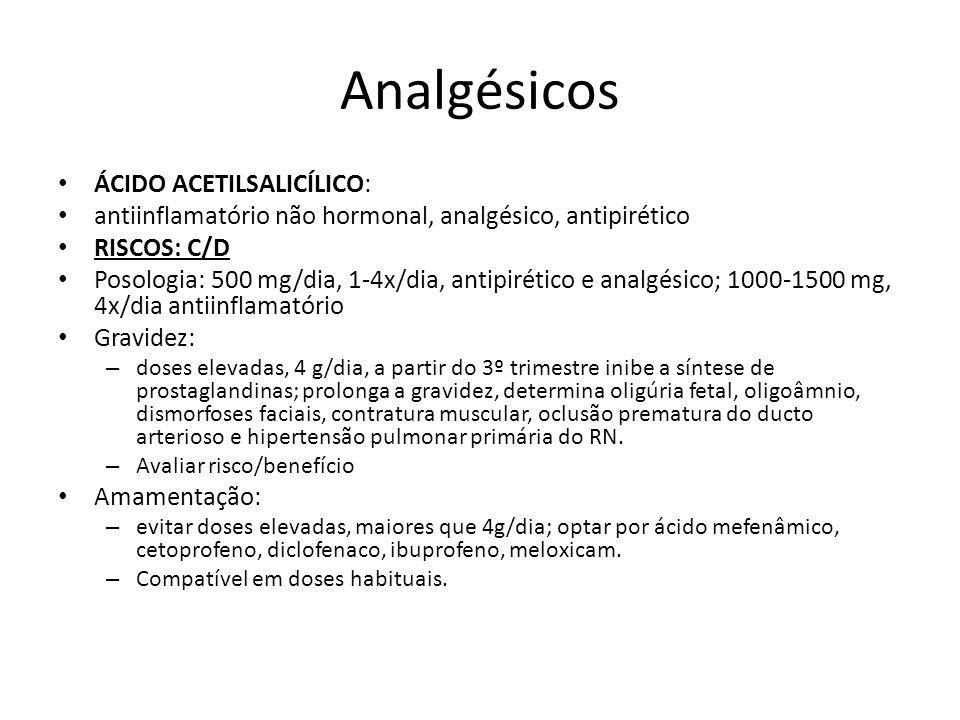 Analgésicos ÁCIDO ACETILSALICÍLICO: antiinflamatório não hormonal, analgésico, antipirético RISCOS: C/D Posologia: 500 mg/dia, 1-4x/dia, antipirético