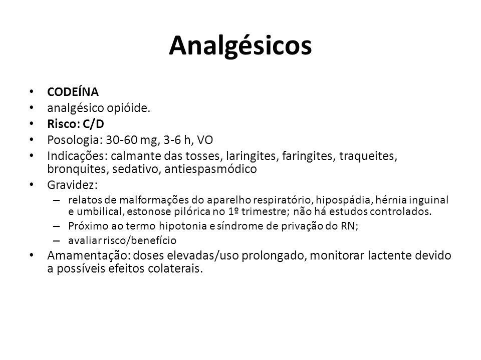 Analgésicos CODEÍNA analgésico opióide. Risco: C/D Posologia: 30-60 mg, 3-6 h, VO Indicações: calmante das tosses, laringites, faringites, traqueites,