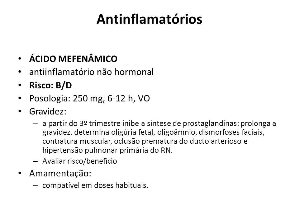 Antinflamatórios ÁCIDO MEFENÂMICO antiinflamatório não hormonal Risco: B/D Posologia: 250 mg, 6-12 h, VO Gravidez: – a partir do 3º trimestre inibe a
