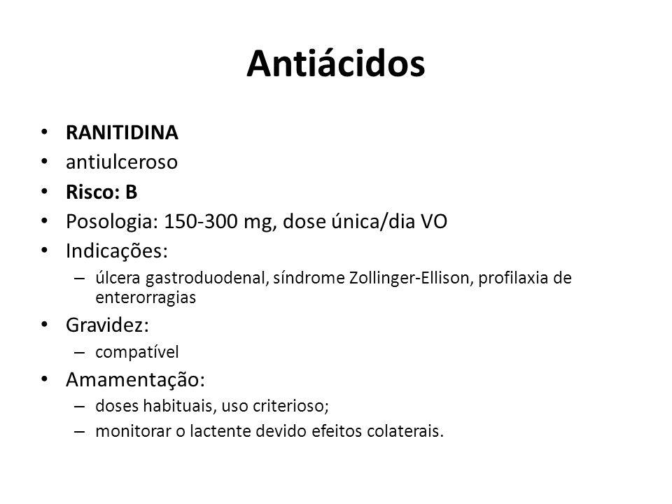 Antiácidos RANITIDINA antiulceroso Risco: B Posologia: 150-300 mg, dose única/dia VO Indicações: – úlcera gastroduodenal, síndrome Zollinger-Ellison,