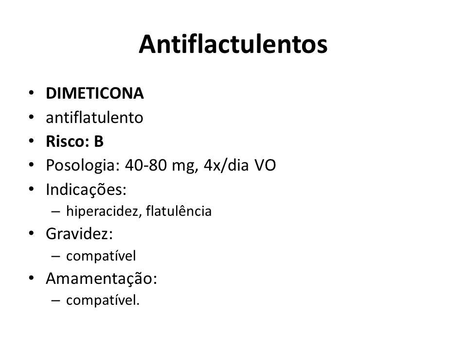 Antiflactulentos DIMETICONA antiflatulento Risco: B Posologia: 40-80 mg, 4x/dia VO Indicações: – hiperacidez, flatulência Gravidez: – compatível Amame