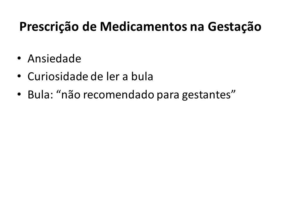 """Prescrição de Medicamentos na Gestação Ansiedade Curiosidade de ler a bula Bula: """"não recomendado para gestantes"""""""