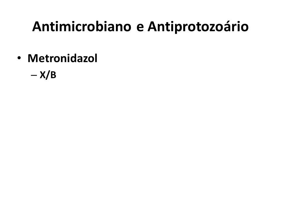 Antimicrobiano e Antiprotozoário Metronidazol – X/B