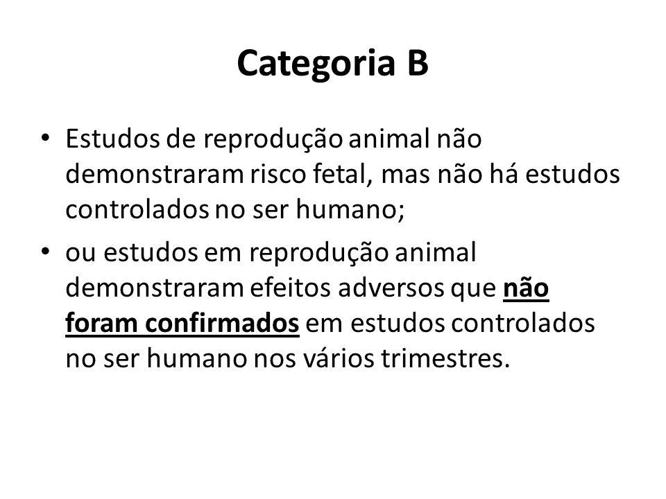 Categoria B Estudos de reprodução animal não demonstraram risco fetal, mas não há estudos controlados no ser humano; ou estudos em reprodução animal d