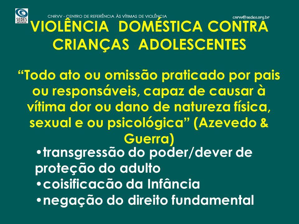 """cnrvv@sedes.org.br CNRVV - CENTRO DE REFERÊNCIA ÀS VÍTIMAS DE VIOLÊNCIA VIOLÊNCIA DOMÉSTICA CONTRA CRIANÇAS ADOLESCENTES """" Todo ato ou omissão pratica"""