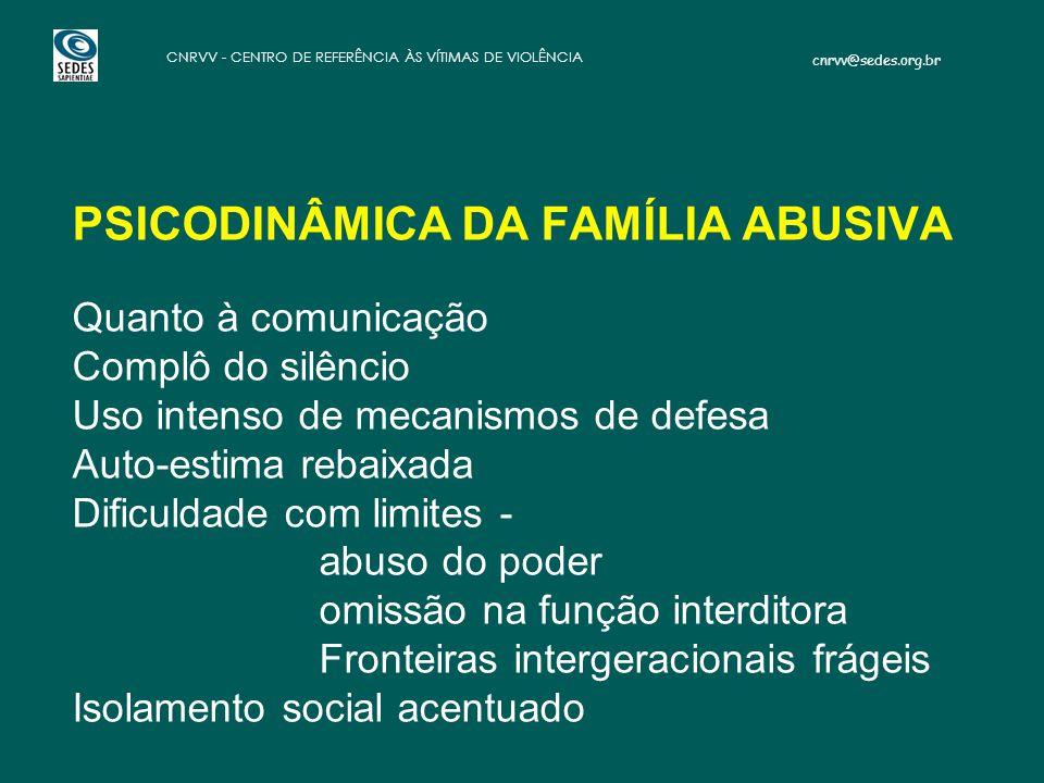 cnrvv@sedes.org.br CNRVV - CENTRO DE REFERÊNCIA ÀS VÍTIMAS DE VIOLÊNCIA PSICODINÂMICA DA FAMÍLIA ABUSIVA: PSICODINÂMICA DA FAMÍLIA ABUSIVA Quanto à co