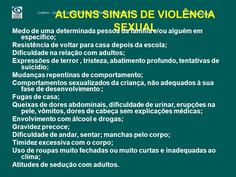 cnrvv@sedes.org.br CNRVV - CENTRO DE REFERÊNCIA ÀS VÍTIMAS DE VIOLÊNCIA ALGUNS SINAIS DE VIOLÊNCIA SEXUAL Medo de uma determinada pessoa da família e/