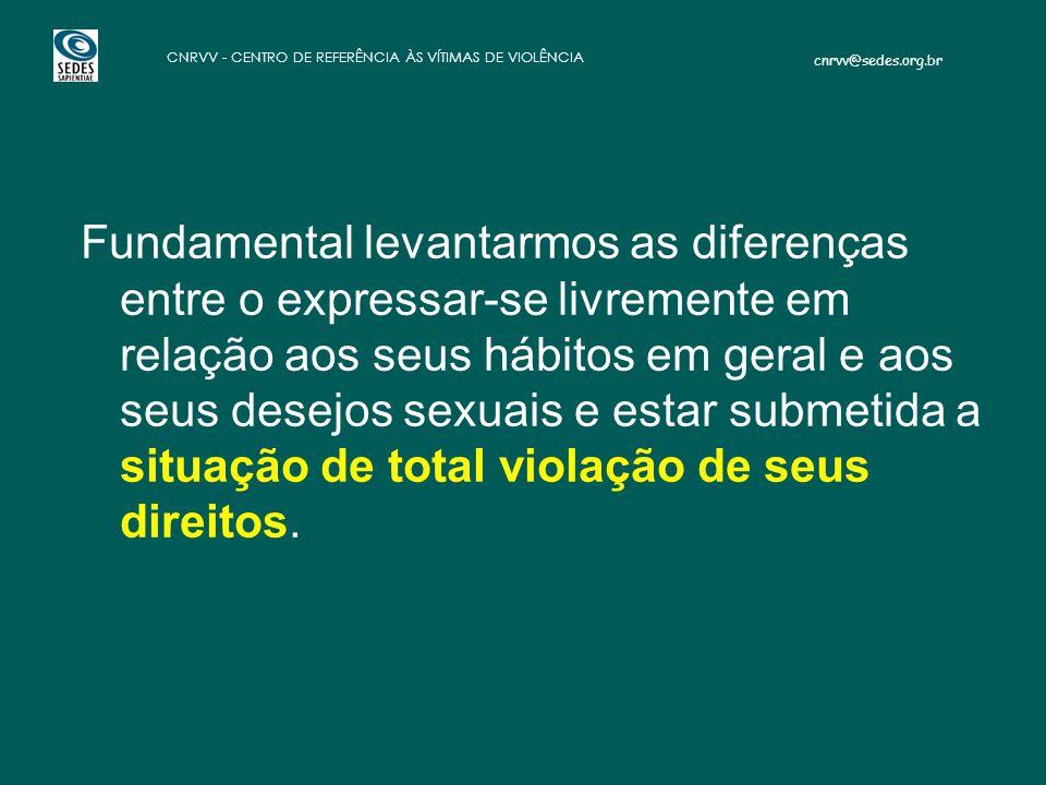 cnrvv@sedes.org.br CNRVV - CENTRO DE REFERÊNCIA ÀS VÍTIMAS DE VIOLÊNCIA Fundamental levantarmos as diferenças entre o expressar-se livremente em relaç