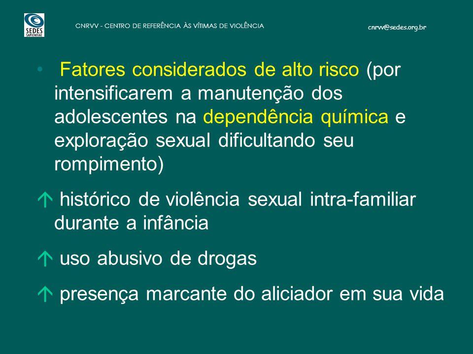 cnrvv@sedes.org.br CNRVV - CENTRO DE REFERÊNCIA ÀS VÍTIMAS DE VIOLÊNCIA Fatores considerados de alto risco (por intensificarem a manutenção dos adoles