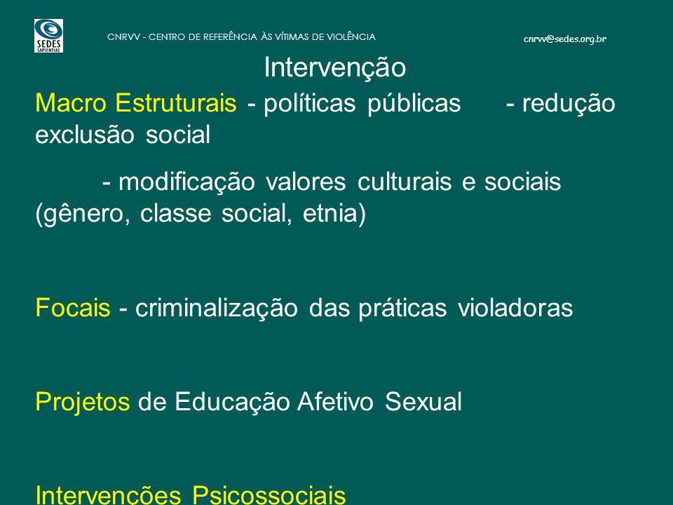 cnrvv@sedes.org.br CNRVV - CENTRO DE REFERÊNCIA ÀS VÍTIMAS DE VIOLÊNCIA Macro Estruturais - políticas públicas - redução exclusão social - modificação