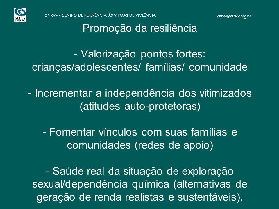 cnrvv@sedes.org.br CNRVV - CENTRO DE REFERÊNCIA ÀS VÍTIMAS DE VIOLÊNCIA - Promoção da resiliência - Valorização pontos fortes: crianças/adolescentes/