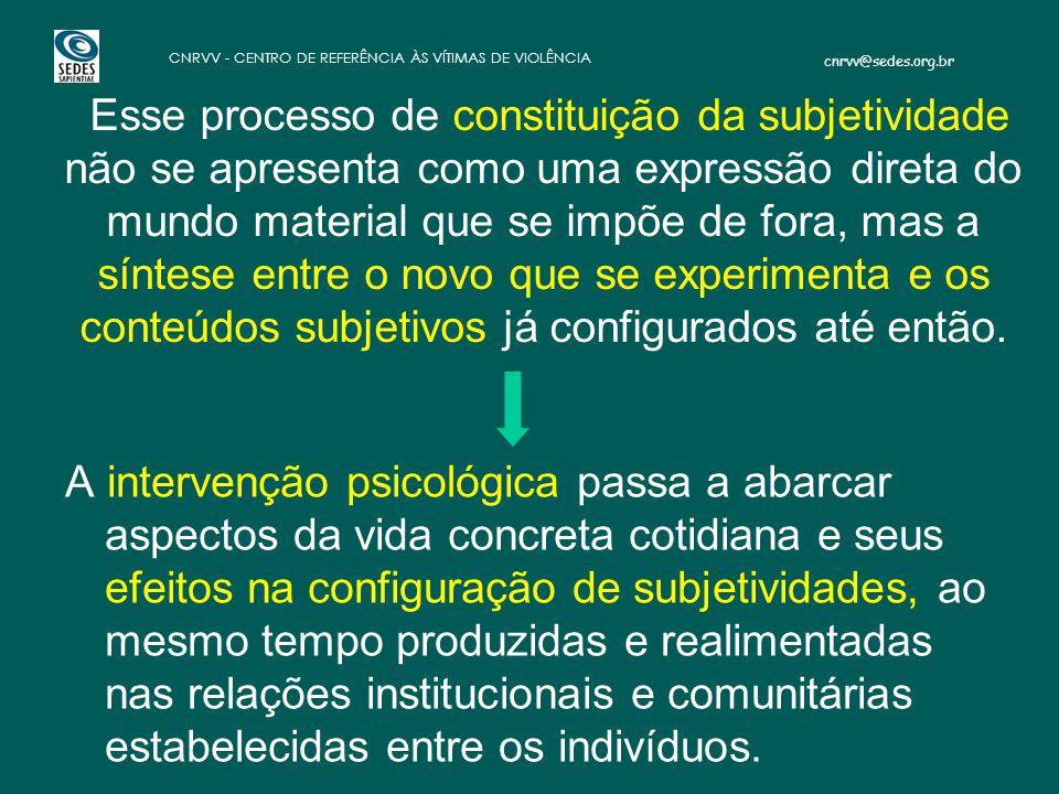 cnrvv@sedes.org.br CNRVV - CENTRO DE REFERÊNCIA ÀS VÍTIMAS DE VIOLÊNCIA Esse processo de constituição da subjetividade não se apresenta como uma expre