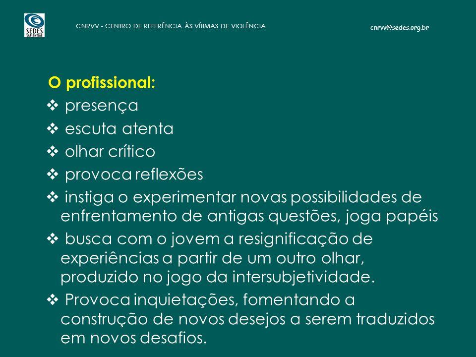 cnrvv@sedes.org.br CNRVV - CENTRO DE REFERÊNCIA ÀS VÍTIMAS DE VIOLÊNCIA O profissional:  presença  escuta atenta  olhar crítico  provoca reflexões